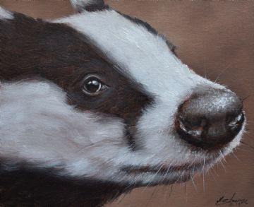 John Silver Original Oil Painting Of A Badger